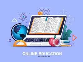 Online education flat concept with gradients vector