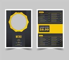 Gray and Yellow Restaurant Menu Flyer Template vector