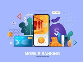 Mobile banking flat concept with gradients vector