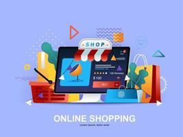 Online shopping flat concept with gradients vector