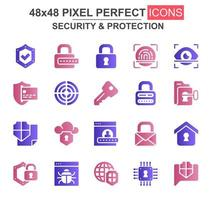 Security and protection glyph icon set vector