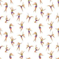 Seamless pattern with dancing girl poses. vector