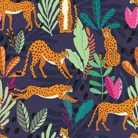 Seamless pattern with hand drawn big cat cheetahs vector
