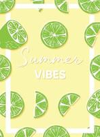 Summer vibes typography and fresh fruit lime poster