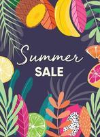 lema de tipografía de venta de verano y cartel de fruta fresca