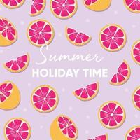 Summer holiday time typography and fresh grapefruit vector