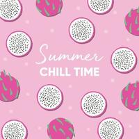 Summer chill time typography and fresh dragon fruit vector