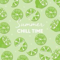Summer chill time typography slogan and fresh lime vector