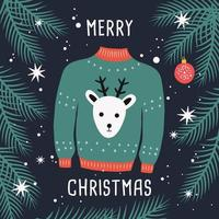 Merry Christmas sweater card with reindeer and branches. vector