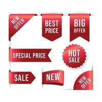 Collection of Red Promotion Labels vector