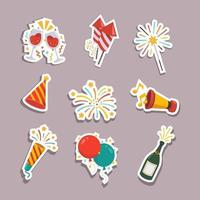 Set of New Year Stickers