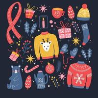 Collection of new year and Christmas elements. vector