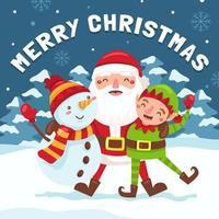 feliz navidad de santa y amigos vector