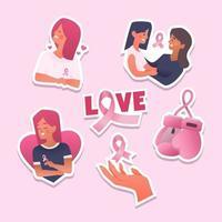 Seet of Breast Cancer Awarness Sticker vector