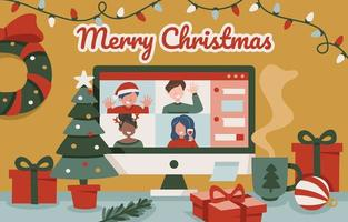Online Christmas Party vector