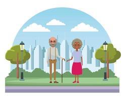 Elderly people avatar cartoon characters vector