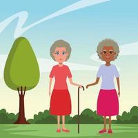 personajes de dibujos animados de avatar de personas mayores vector