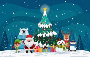 tema navideño con santa claus y sus ayudantes vector
