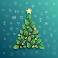 Holly Berry Christmas Tree Illustration