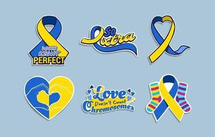 Collection of Hand Drawn Down Syndrome Awareness Stickers