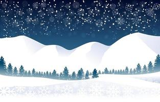 Snowy Mountain Winter Landscape with Snowflakes vector