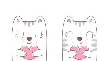 dos gatos enamorados de dibujos animados vector