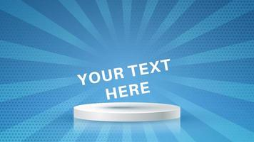 Stand with copy space on halftone burst background vector