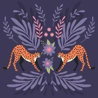 Two cute hand drawn cheetahs stretching vector