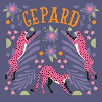 Collection of cute pink cheetahs jumping and stretching vector