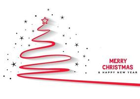 Christmas and New Year abstract line christmas tree design vector