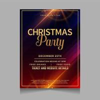 Glowing Christmas party invitation template vector