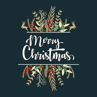 tipografía feliz navidad con decoración floral vector