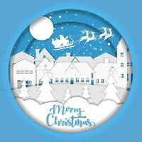 Merry Christmas paper art design with Santa over town