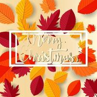 Merry christmas text with autumn flat leaves design