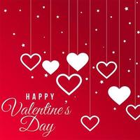 Happy Valentine's day text with hanging hearts and stars vector