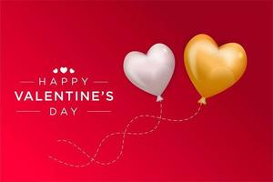 Valentine's day design with floating heart balloons