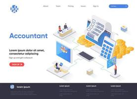 Accountant isometric landing page