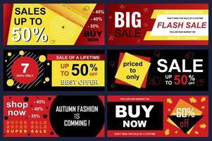 conjunto de banners de venta para compras en línea.