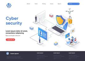 Cyber security isometric landing page vector