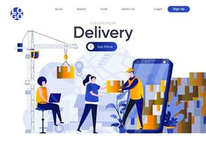 Delivery flat landing page vector