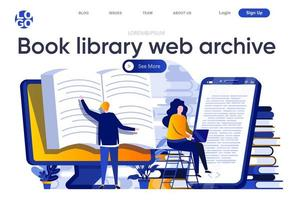 Book library web archive flat landing page vector