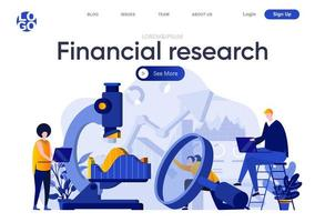 página de inicio plana de investigación financiera vector