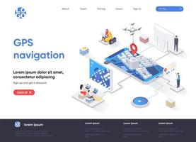 GPS navigation isometric landing page vector