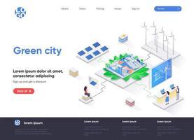 Green city isometric landing page