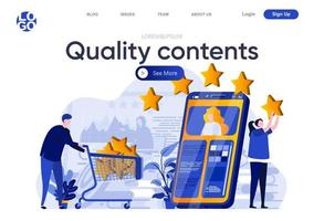 Quality contents flat landing page. Creative team posting and reviewing quality digital content vector illustration. Social media marketing and publication web page composition