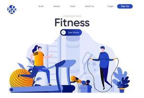 página de inicio plana de fitness vector