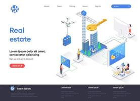 Real estate isometric landing page vector