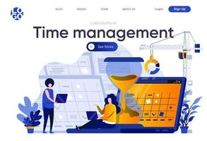 Time management flat landing page vector