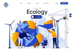 página de inicio plana de ecología vector