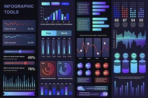 paquete de elementos de infografía ui, ux, kit vector